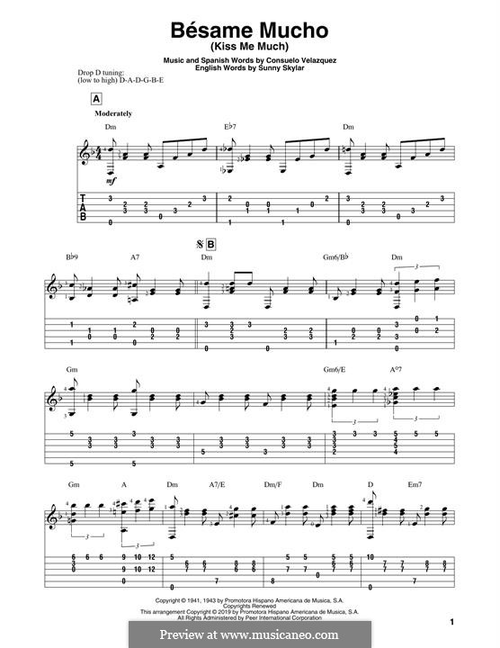 Besame Mucho (Kiss Me Much): For guitar by Consuelo Velazquez