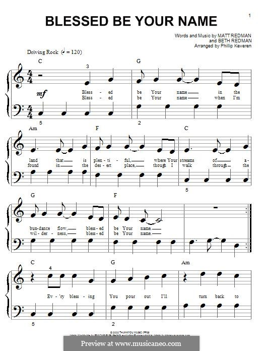 Blessed Be Your Name: For piano by Matt Redman, Beth Redman