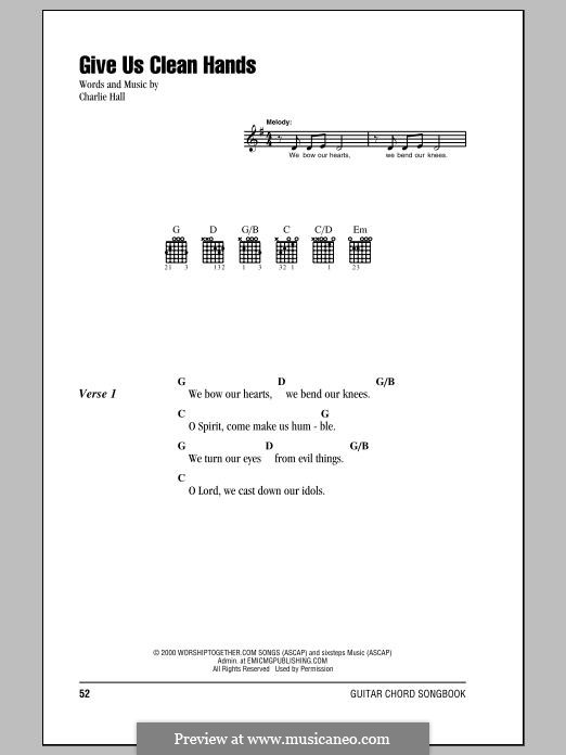 Give Us Clean Hands: Lyrics and chords by Charlie Hall