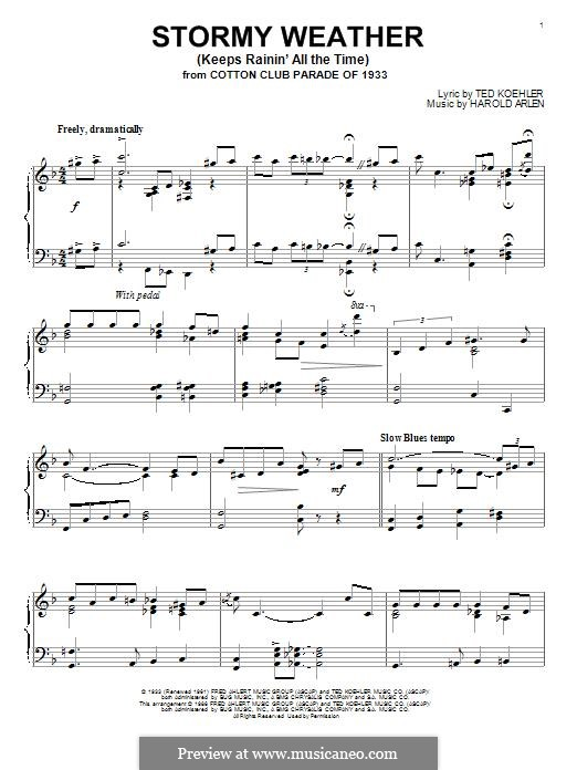 Stormy Weather (Lena Horne): For piano by Harold Arlen