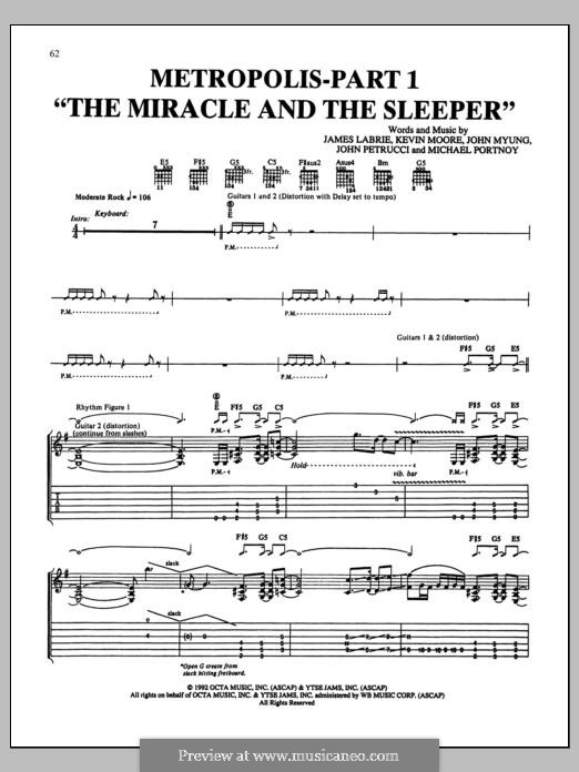 Metropolis-Part 1 'The Miracle and The Sleeper' (Dream Theater): For guitar with tab by Mike Portnoy, John Petrucci, John Myung, Kevin LaBrie, Kevin Moore