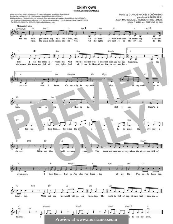On My Own: Melody line by Claude-Michel Schönberg