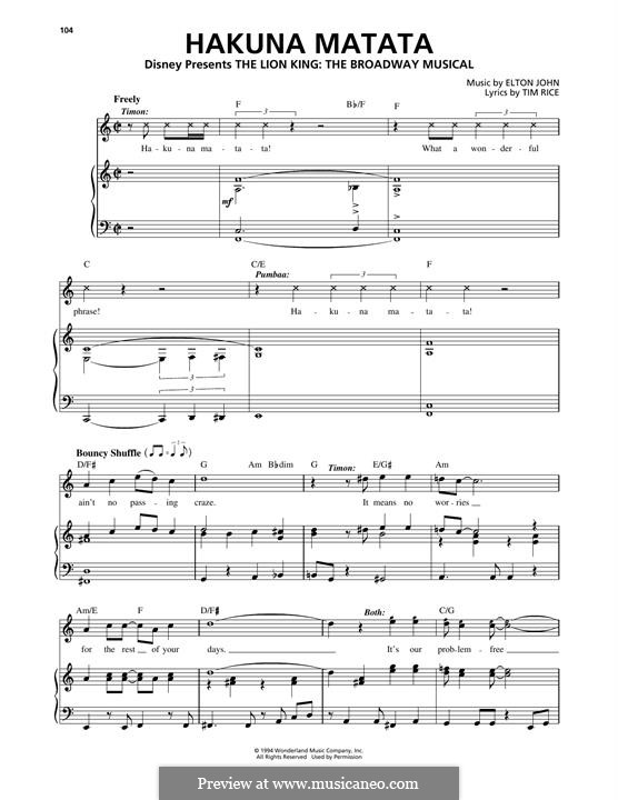Hakuna Matata (from The Lion King): For voice and piano by Elton John