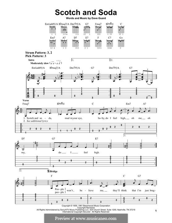 Scotch and Soda (The Kingston Trio): For guitar by Dave Guard