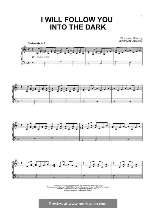 I Will Follow You Into the Dark (Death Cab for Cutie): For piano by Benjamin Gibbard
