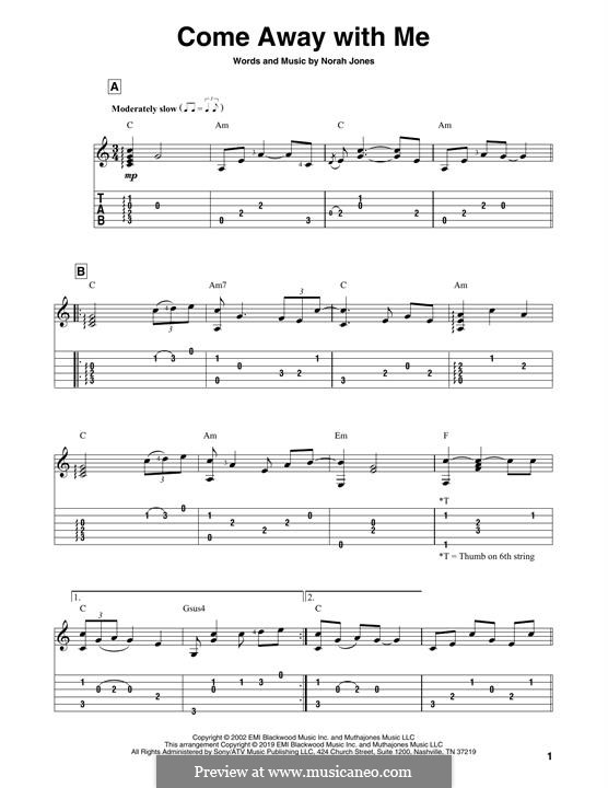 Come Away with Me: For guitar by Norah Jones