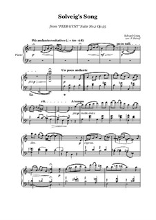 Suite No.2. Solveig's Song: For piano solo by Edvard Grieg