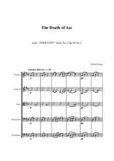 Suite No.1. Aase's Death, Op.46 No.2: For string orchestra - score and parts by Edvard Grieg