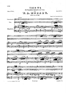 Trio for Clarinet, Viola (or Violin) and Piano in E Flat Major 'Kegelstatt', K.498: Full score by Wolfgang Amadeus Mozart