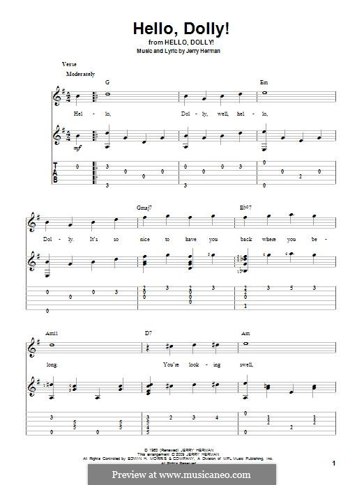 Hello Dolly (Louis Armstrong): For guitar by Jerry Herman
