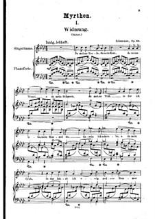 No.1 Widmung (Dedication): Piano-vocal score (German text) by Robert Schumann