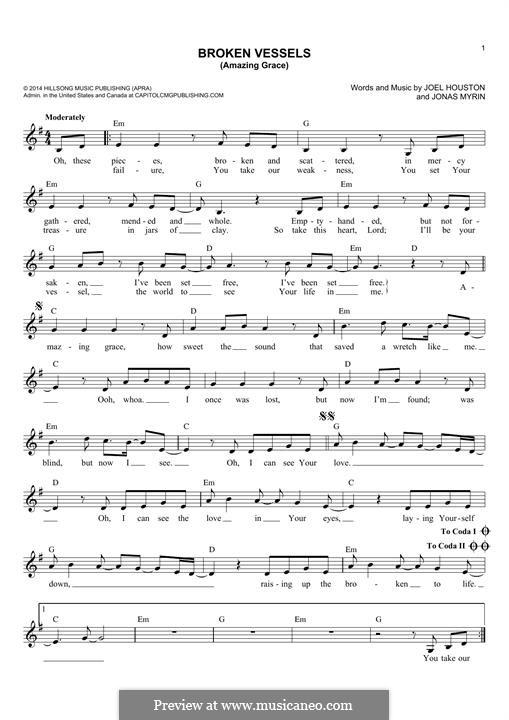 Broken Vessels (Amazing Grace): Melody line by Jonas Myrin, Joel Houston