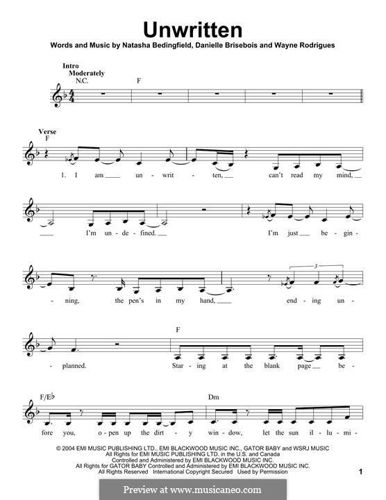 Unwritten: Melody line by Danielle Brisebois, Wayne Rodrigues
