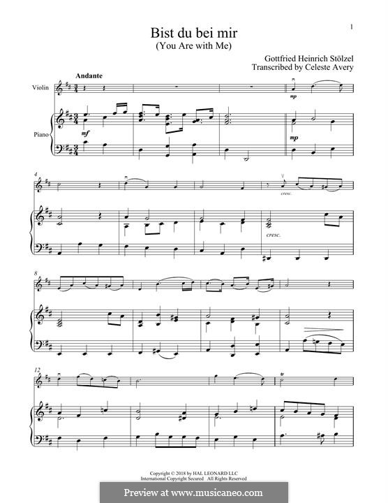 No.25 Bist du bei mir (You Are with Me), Printable scores: For violin and piano by Johann Sebastian Bach