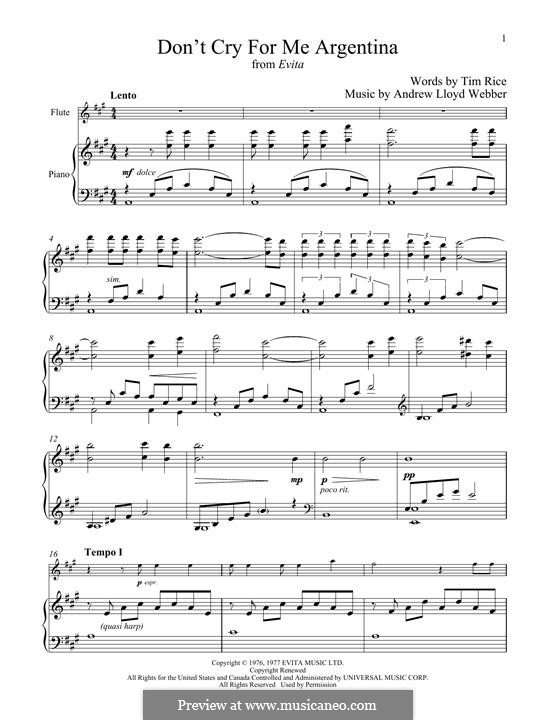 Don't Cry for Me Argentina: For flute and piano by Andrew Lloyd Webber