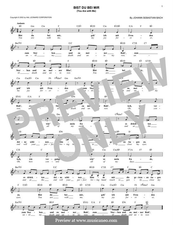 No.25 Bist du bei mir (You Are with Me), Printable scores: Melody line by Johann Sebastian Bach
