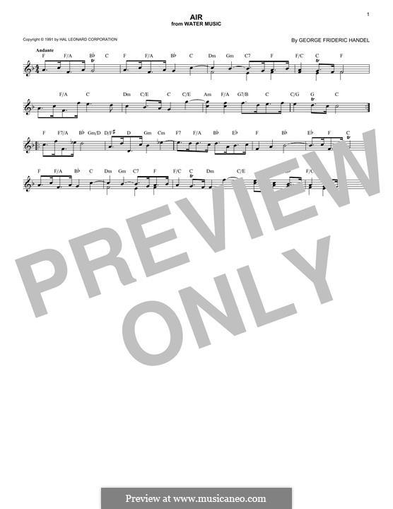Suite No.1 in F Major, HWV 348: Aria, melody line by Georg Friedrich Händel
