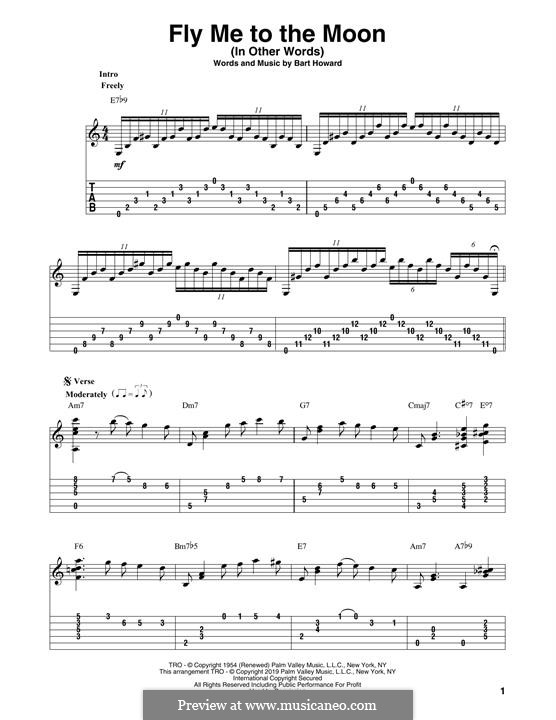 Fly Me to the Moon (In Other Words): For guitar by Bart Howard