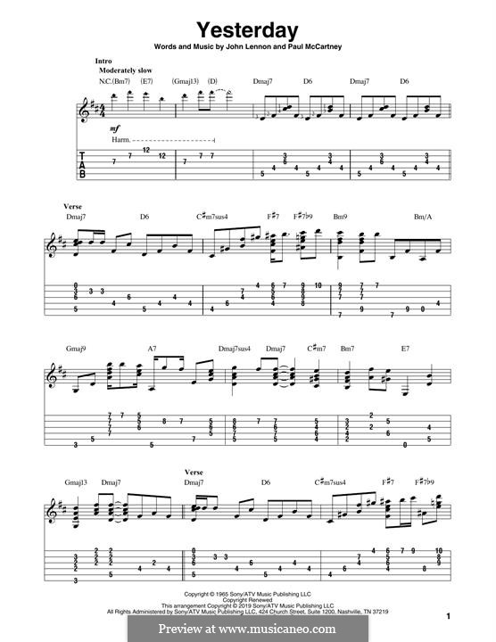 Yesterday (The Beatles): For guitar with tab by John Lennon, Paul McCartney