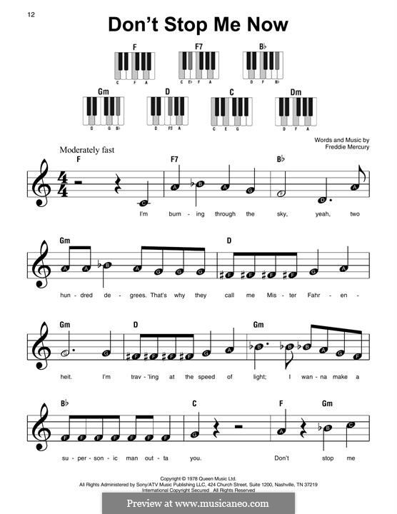 Don't Stop Me Now (Queen): For piano by Freddie Mercury