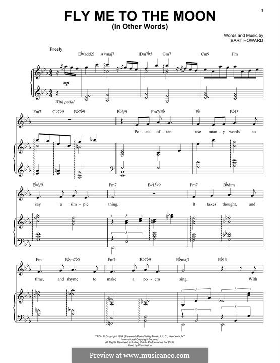 Fly Me to the Moon (In Other Words): For voice and piano by Bart Howard