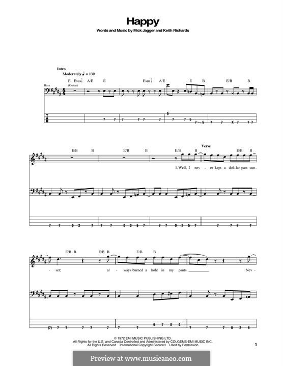 Happy (The Rolling Stones): For bass guitar with tab by Keith Richards, Mick Jagger