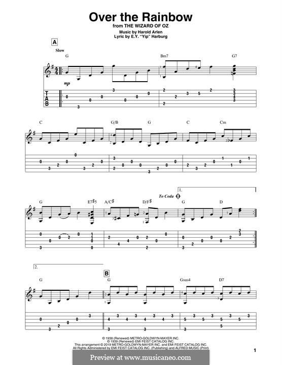 Over the Rainbow (from The Wizard of Oz): For guitar with tab by Harold Arlen