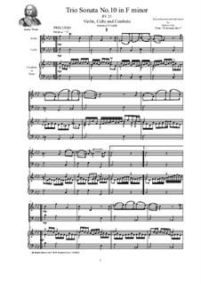 Trio Sonata No.10 in F minor for Violin, Cello and Cembalo (or Piano), RV 21 Op.2: Trio Sonata No.10 in F minor for Violin, Cello and Cembalo (or Piano) by Antonio Vivaldi