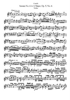 Sonata No.6: Solo part by Arcangelo Corelli
