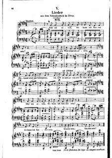 No.5 Sitz' ich allein (Chansons à boire): Piano-vocal score (German text) by Robert Schumann