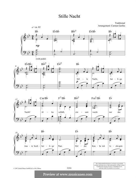 Stille Nacht: For piano by folklore