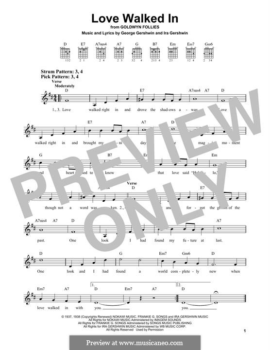 Love Walked in: For guitar with tab by George Gershwin