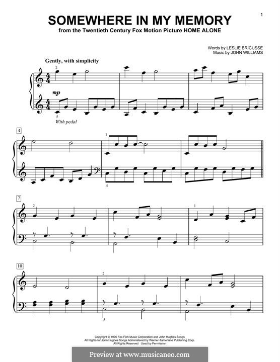 Somewhere in My Memory: For piano by John Williams