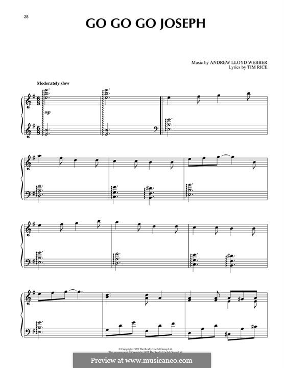 Go Go Go Joseph (from Joseph and The Amazing Technicolor Dreamcoat): For piano by Andrew Lloyd Webber