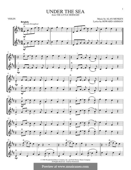 Under the Sea (from The Little Mermaid): For two violins by Alan Menken