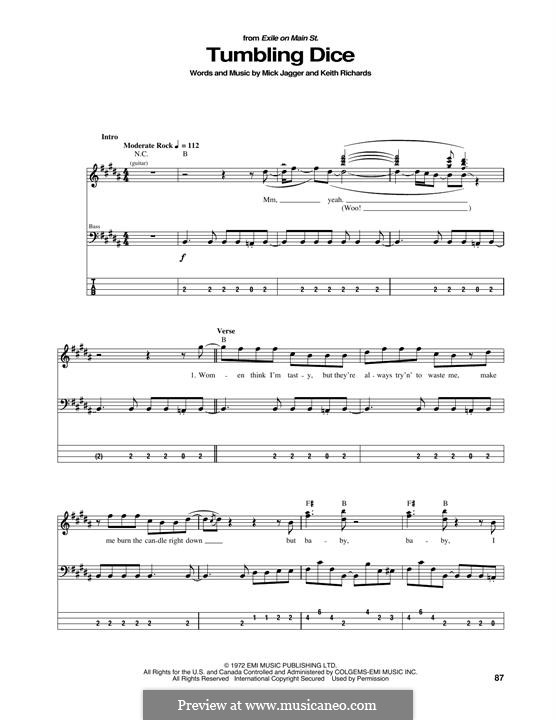 Tumbling Dice (The Rolling Stones): For bass guitar with tab by Keith Richards, Mick Jagger