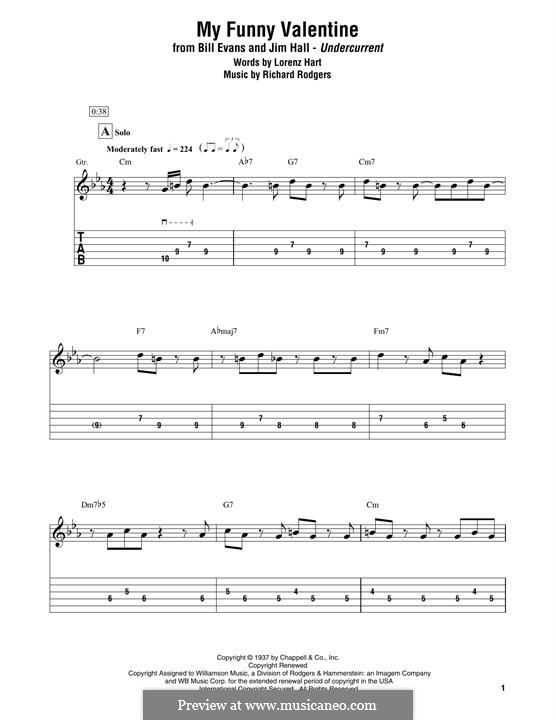 My Funny Valentine: For electric guitar by Richard Rodgers
