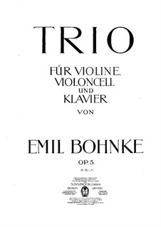 Piano Trio in B Flat Minor, Op.5: Full score by Emil Bohnke