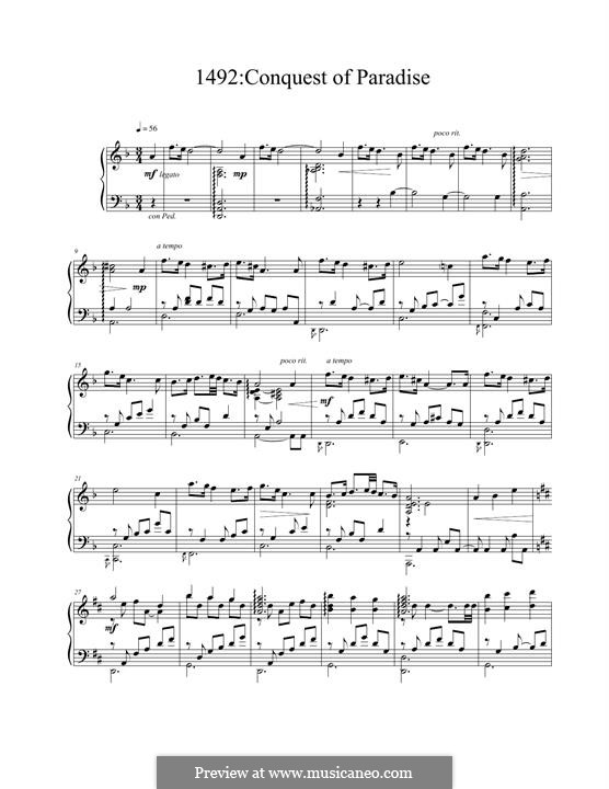 1492: Conquest of Paradise: For piano by Vangelis