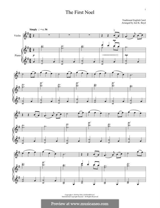 The First Nowell (The First Noël), Printable scores: For violin and piano by folklore