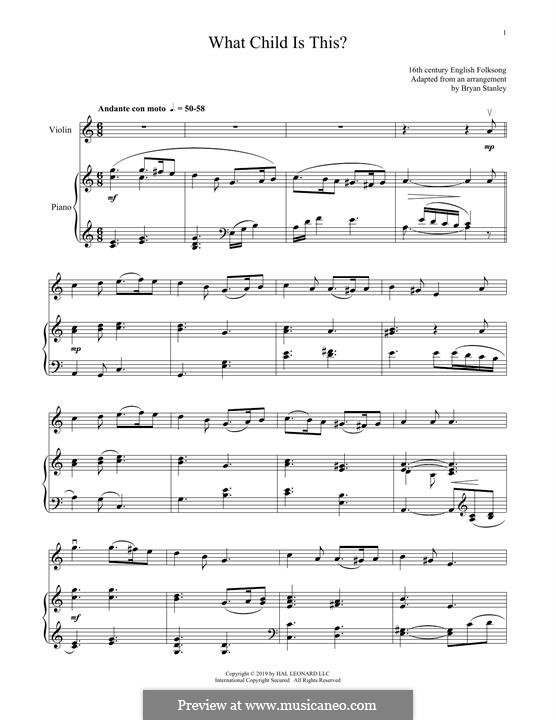 What Child is This (Christmas Carol): For violin and piano by folklore