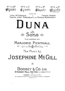 Duna for Voice and Piano: Duna for Voice and Piano by Josephine McGill