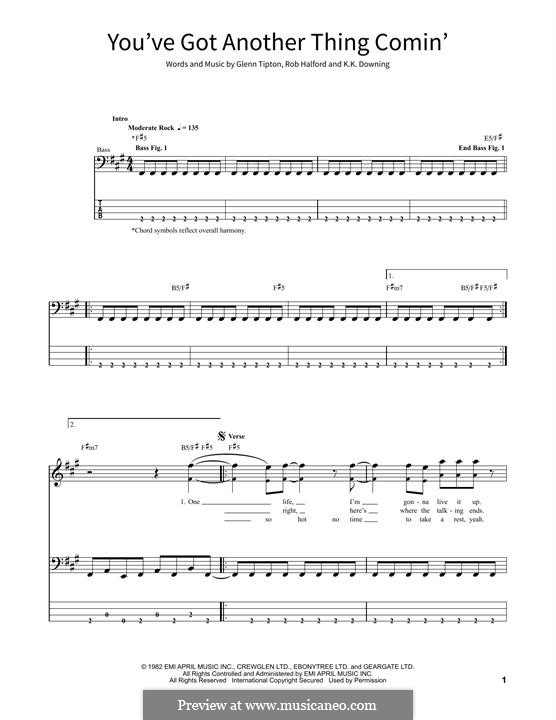 You've Got Another Thing Comin' (Judas Priest): For bass guitar with tab by Glenn Tipton, K. K. Downing, Robert Halford