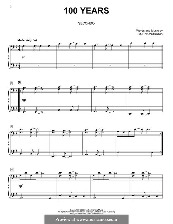 100 Years (Five for Fighting): For piano by John Ondrasik