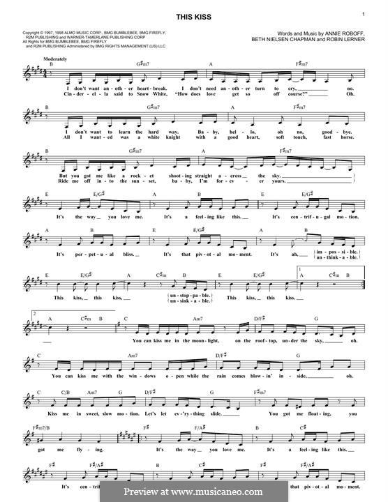 This Kiss (Faith Hill): Melody line by Annie Roboff, Beth Nielsen Chapman, Robin Lerner
