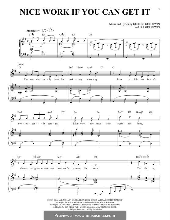 Nice Work if You Can Get It: For voice and piano by George Gershwin