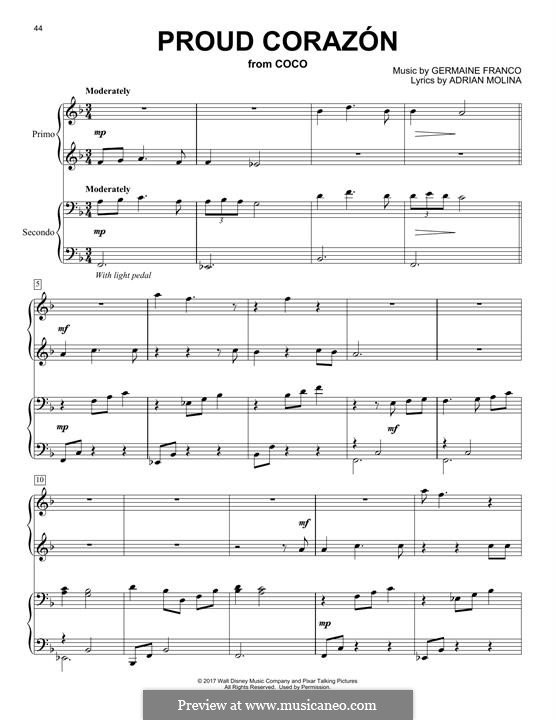 Proud Corazon (from 'Coco'): For piano by Germaine Franco