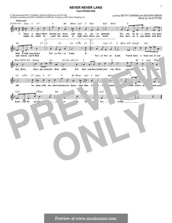 Never Never Land: Melody line by Jule Styne