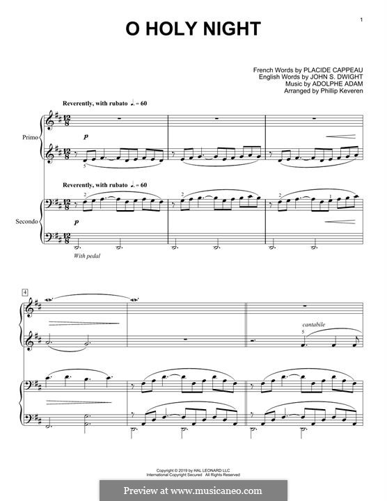 O Holy Night, for Piano: For four hands by Adolphe Adam