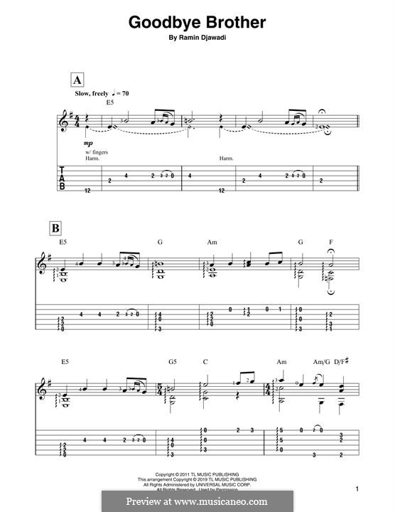 Goodbye Brother: For guitar by Ramin Djawadi